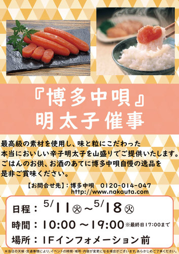 【5/11(火)~】『博多中唄』明太子催事